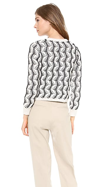 alice + olivia Georgia Textured Crop Cardigan