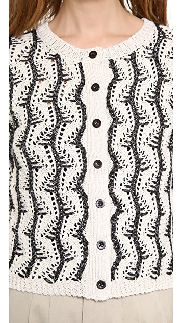 alice + olivia Georgia Textured Crop Cardigan