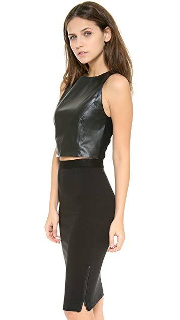 alice + olivia Lorita Cropped Leather Tank