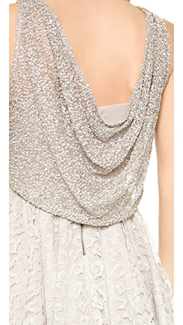 alice + olivia Hilta Beaded Flare Dress