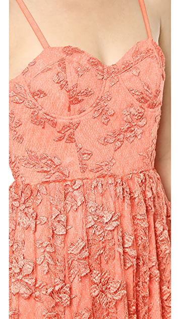 alice + olivia Tyler Bustier Flowy Maxi Dress