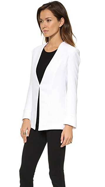 alice + olivia Long Slim Collarless Blazer