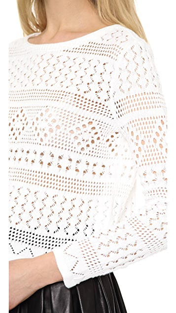 alice + olivia Dorie Boxy Cropped Pointelle Top