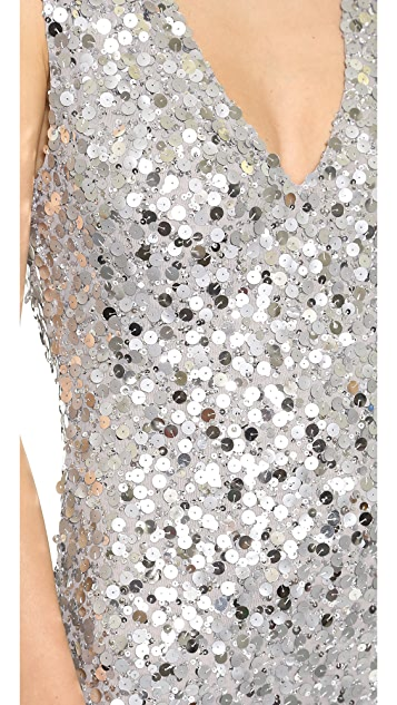 alice + olivia Low V Neck Sequin Dress
