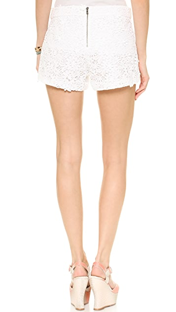 alice + olivia Crochet Lace Back Zip Shorts