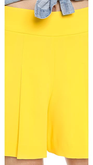 alice + olivia High Waisted Pleated Shorts