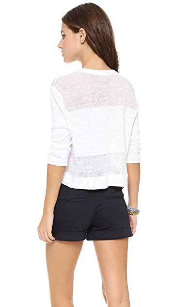alice + olivia Shena Sheer Crop Sweater