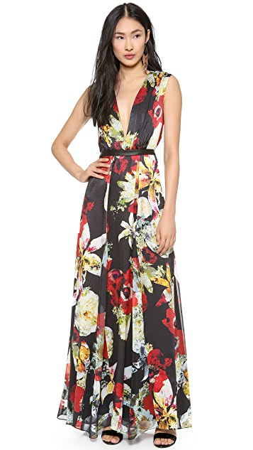Alice Olivia Triss Leather Trim Maxi Dress Shopbop