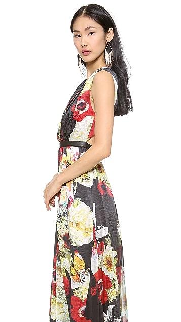 alice + olivia Triss Leather Trim Maxi Dress