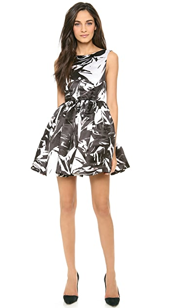 alice + olivia Jade Gathered Cap Sleeve Dress