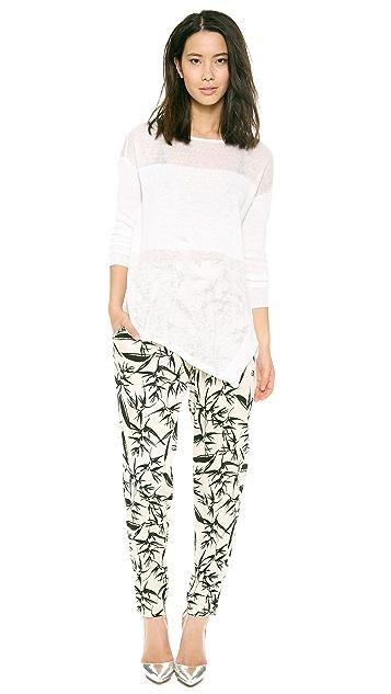 alice + olivia Catherine Sheer Combo Sweater