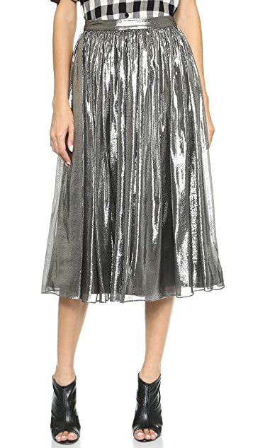 alice + olivia Lizzie Metallic Skirt
