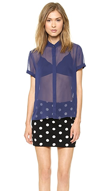 alice + olivia Rolled Sleeve Button Down Blouse