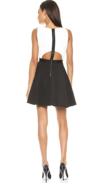 alice + olivia Tobin Low Cut Combo Flare Dress