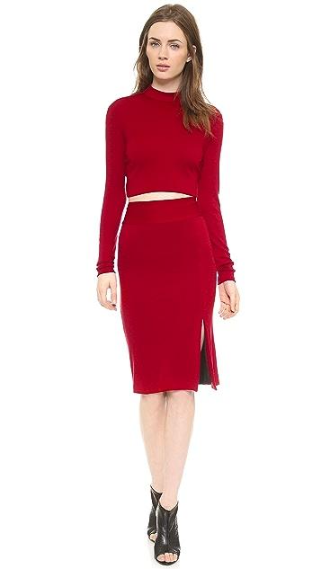 alice + olivia Tani Slit Pencil Skirt