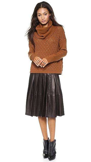 alice + olivia Tatum Leather Pleat Skirt