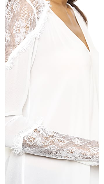 alice + olivia Lace Shoulder V Neck Top