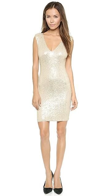alice + olivia Embellished V Neck Dress
