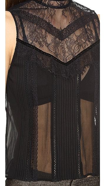 alice + olivia Harlow Sleeveless Victorian Blouse