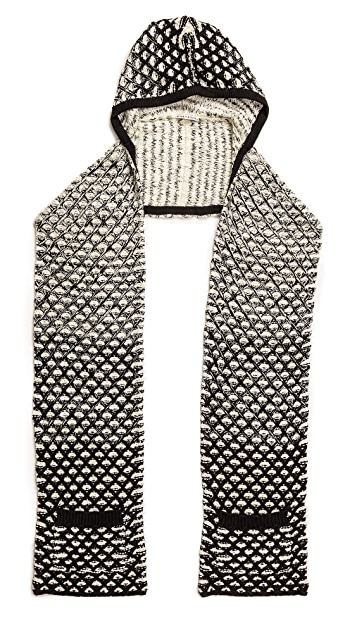 alice + olivia Ombre Stitch Hooded Scarf with Pockets