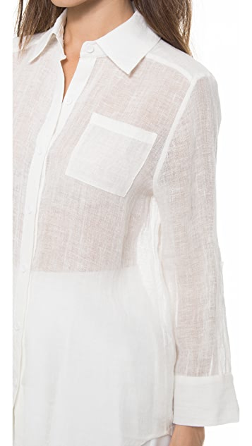 alice + olivia Piper Linen Button Down