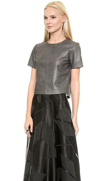alice + olivia Marina Boxy Leather Tee