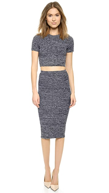 alice + olivia Solange Herringbone Crop Top