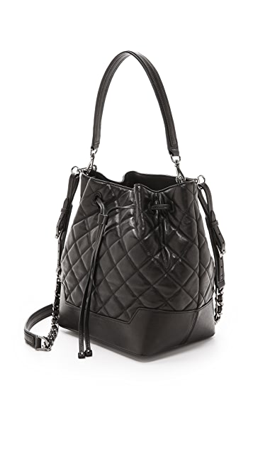 alice + olivia Quilted Glazed Leather Bucket Bag