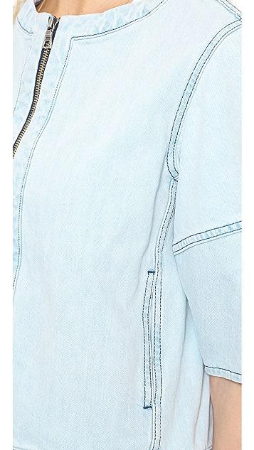 alice + olivia Palm Cropped Denim Jacket