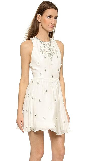 alice + olivia Gilda Embellished Lace Back Dress