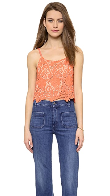 alice + olivia Alanis Lace Crop Top
