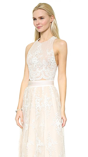 alice + olivia Blythe Lace Fitted Crop Top