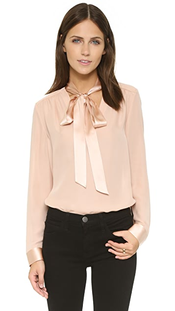 alice + olivia Irma V Neck Tie Top