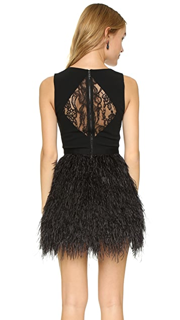 alice + olivia Kiara Feather Dress