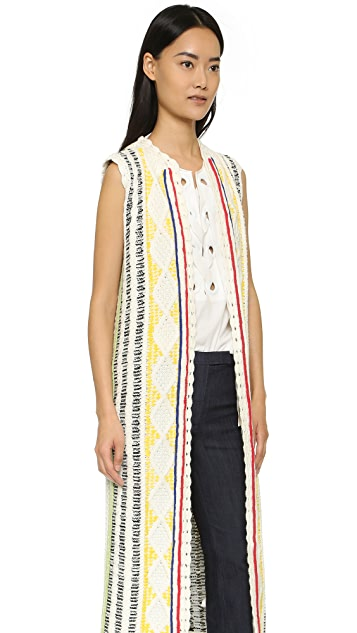 alice + olivia Rudy Long Cable Vest