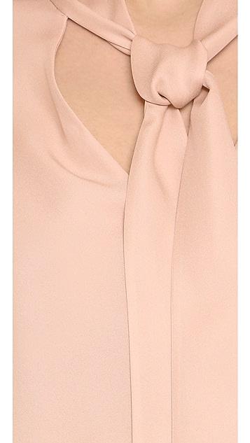 alice + olivia Freddie Long Sleeve Tie Neck Blouse