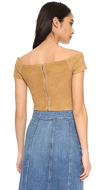 alice + olivia Gracelyn Suede Off Shoulder Crop Top