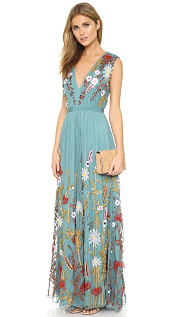 alice + olivia Merill Embroidered Gown
