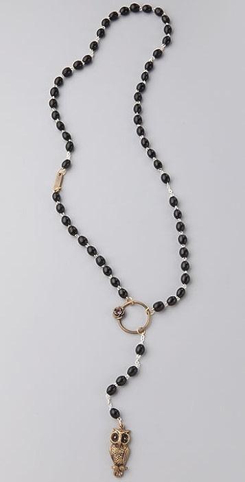 Alkemie Jewelry Black Owl Rosary Necklace