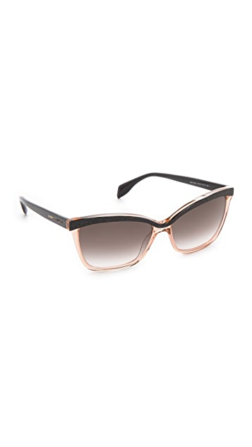 Alexander McQueen Two Tone Cat Eye Sunglasses