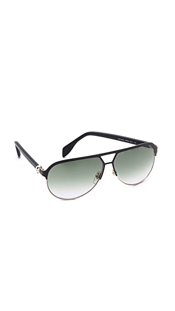 Alexander McQueen Flat Top Aviator Sunglasses