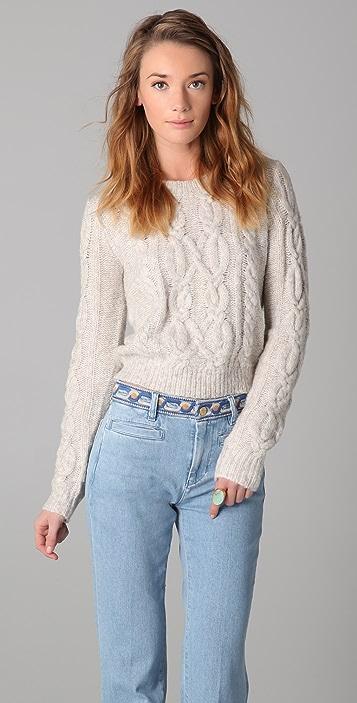 Ami Dans La Rue Crew Neck Cable Sweater