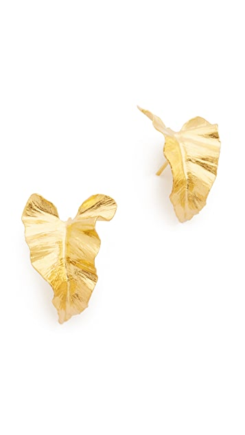 Alex Monroe Large Curled Lily Leaf Earrings