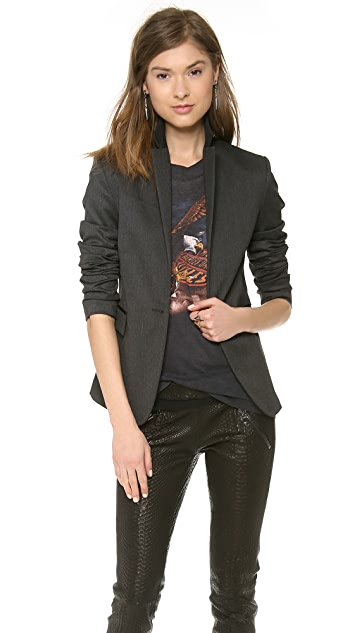 ANINE BING Blazer with Leather Trim