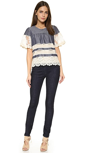 Anna Sui Lace Banded Chambray Tiered Top