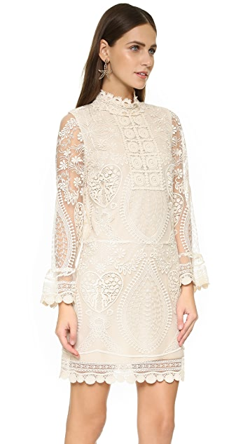 Anna Sui Hearts Embroidered Dress