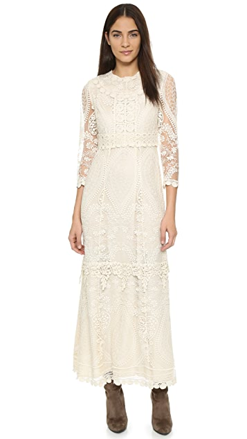 Anna Sui Hearts Embroidered Maxi Dress