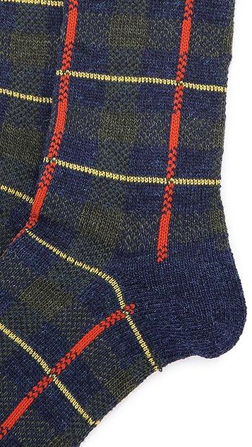 Anonymous Ism Wool Check Crew Socks
