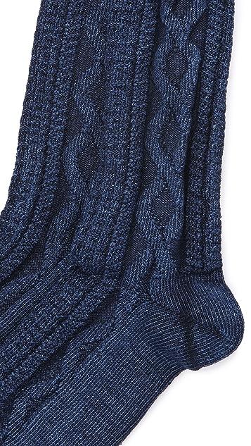 Anonymous Ism Indigo Cable Crew Socks