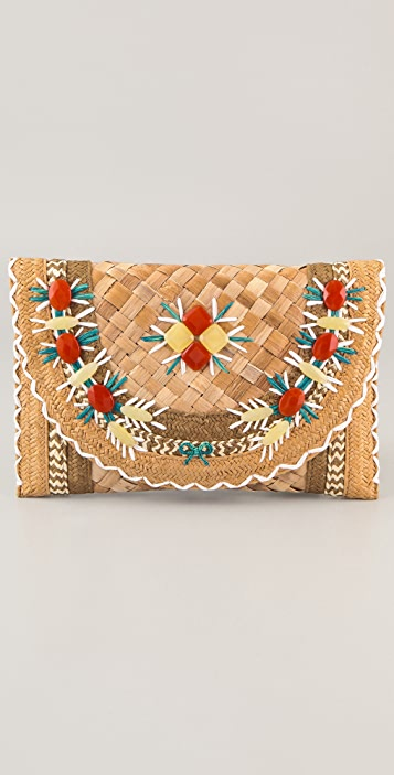 Anya Hindmarch Ipanema Straw Clutch